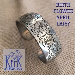 Vintage Kirk Pewter Flower Cuff Daisy- April